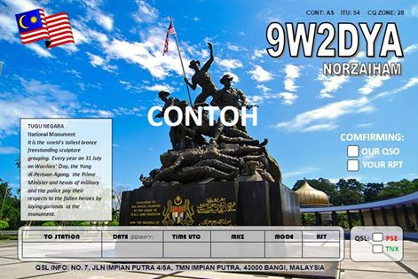 QSL image for 9W2DYA