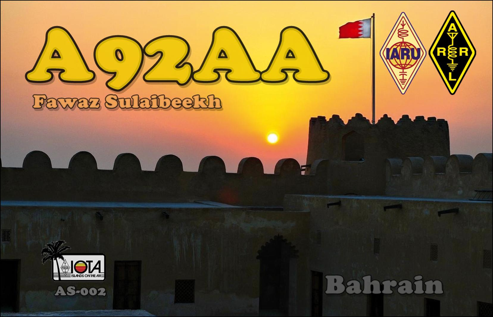 QSL image for A92AA