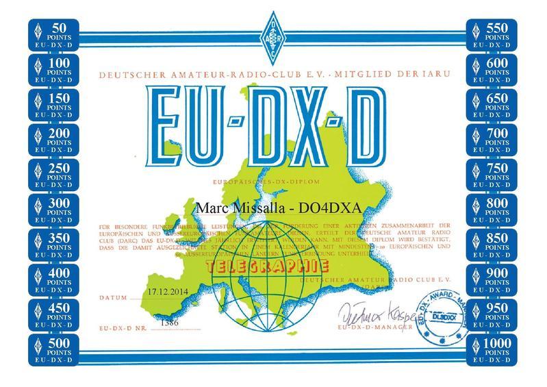 DO4DXA EU-DX-D 1000 CW certificate