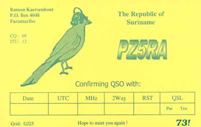 QSL image for PZ5RA