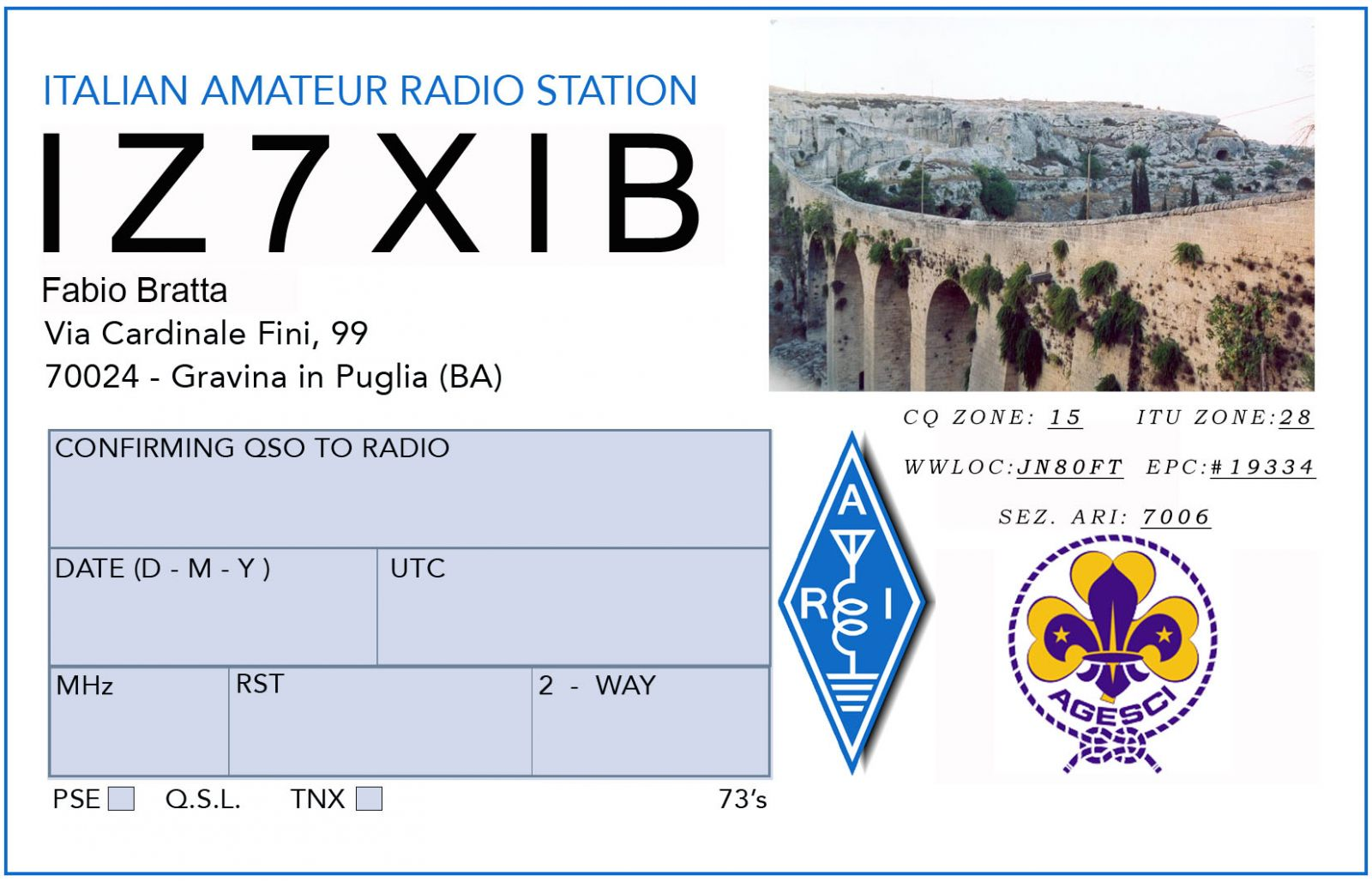 QSL image for IZ7XIB