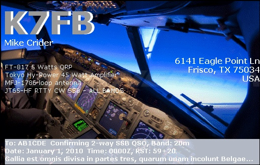 QSL image for K7FB