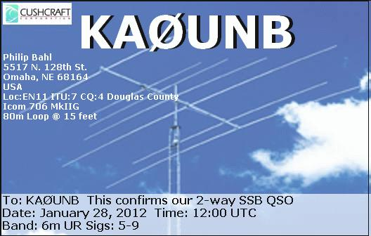 QSL image for KA0UNB