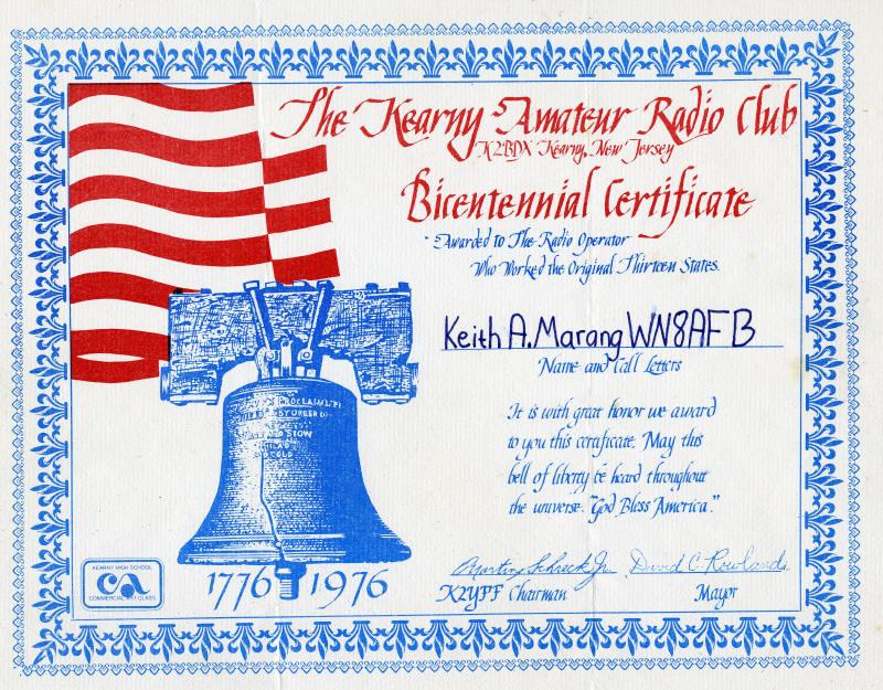 Kearny New Jersy K2BDX award