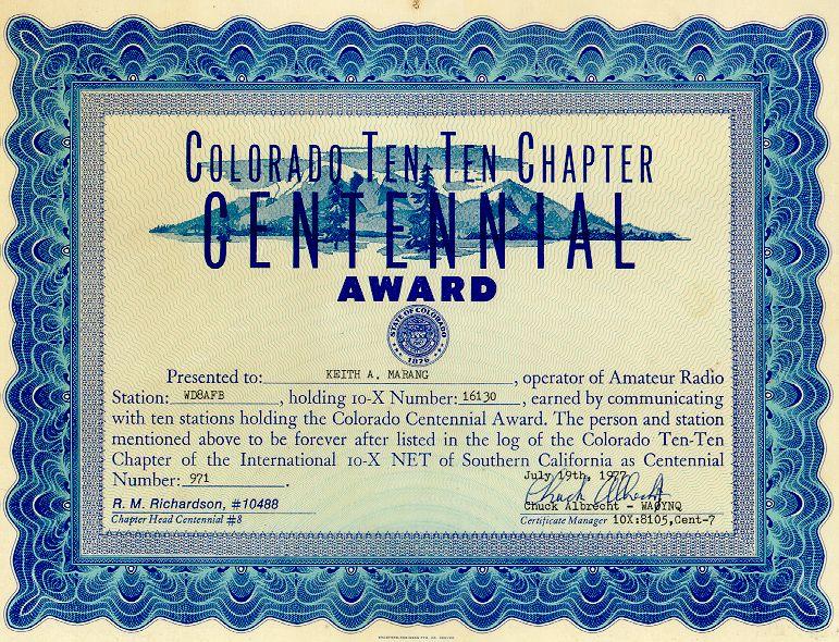 Co;rado Centennial # 971