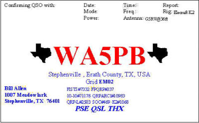 QSL image for WA5PB