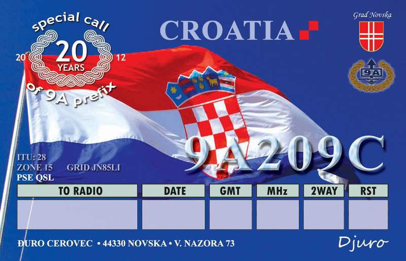 QSL image for 9A209C