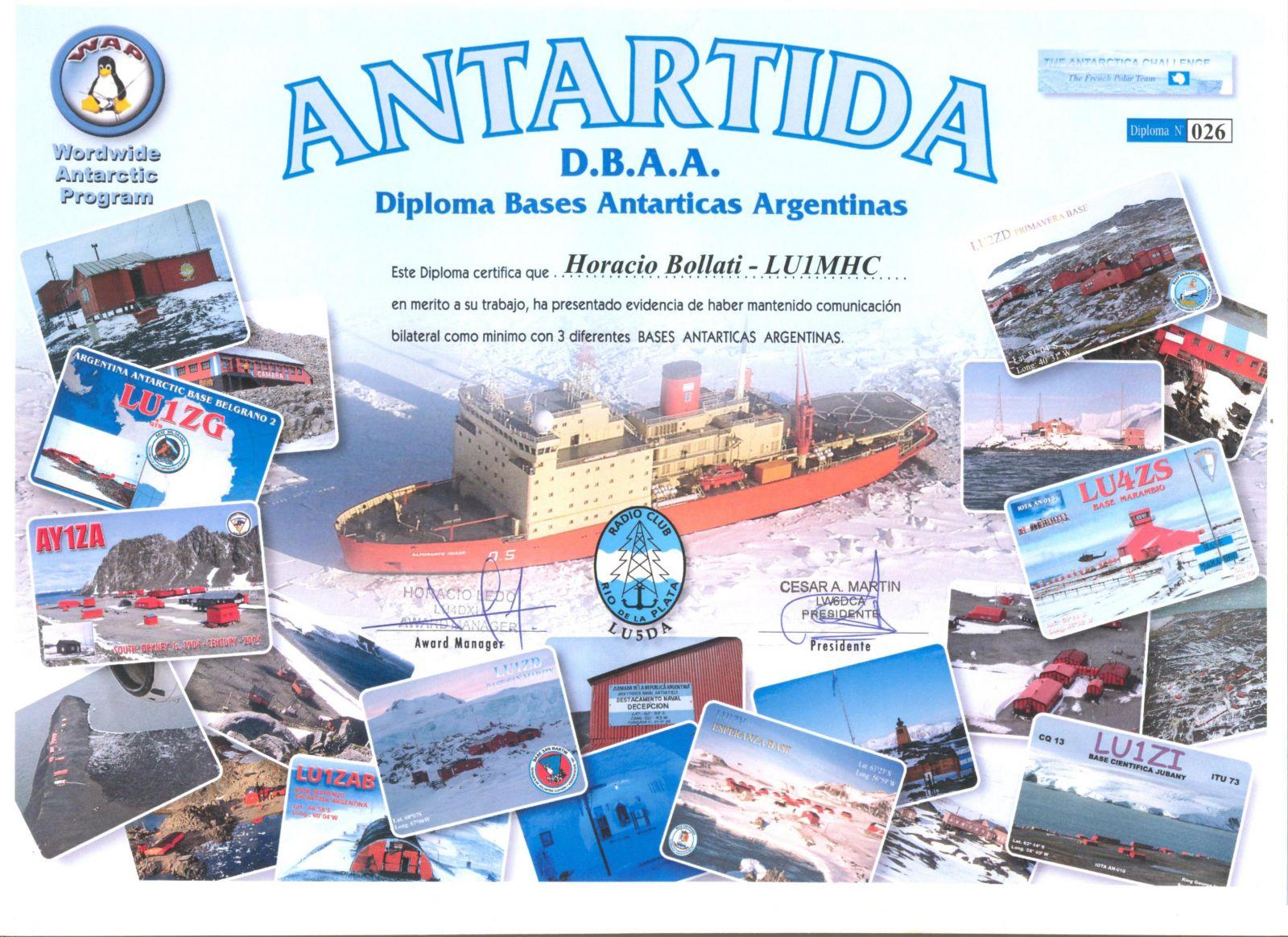 DIPLOMA ANTRTICO - RADIO CLUB RO DE LA PLATA