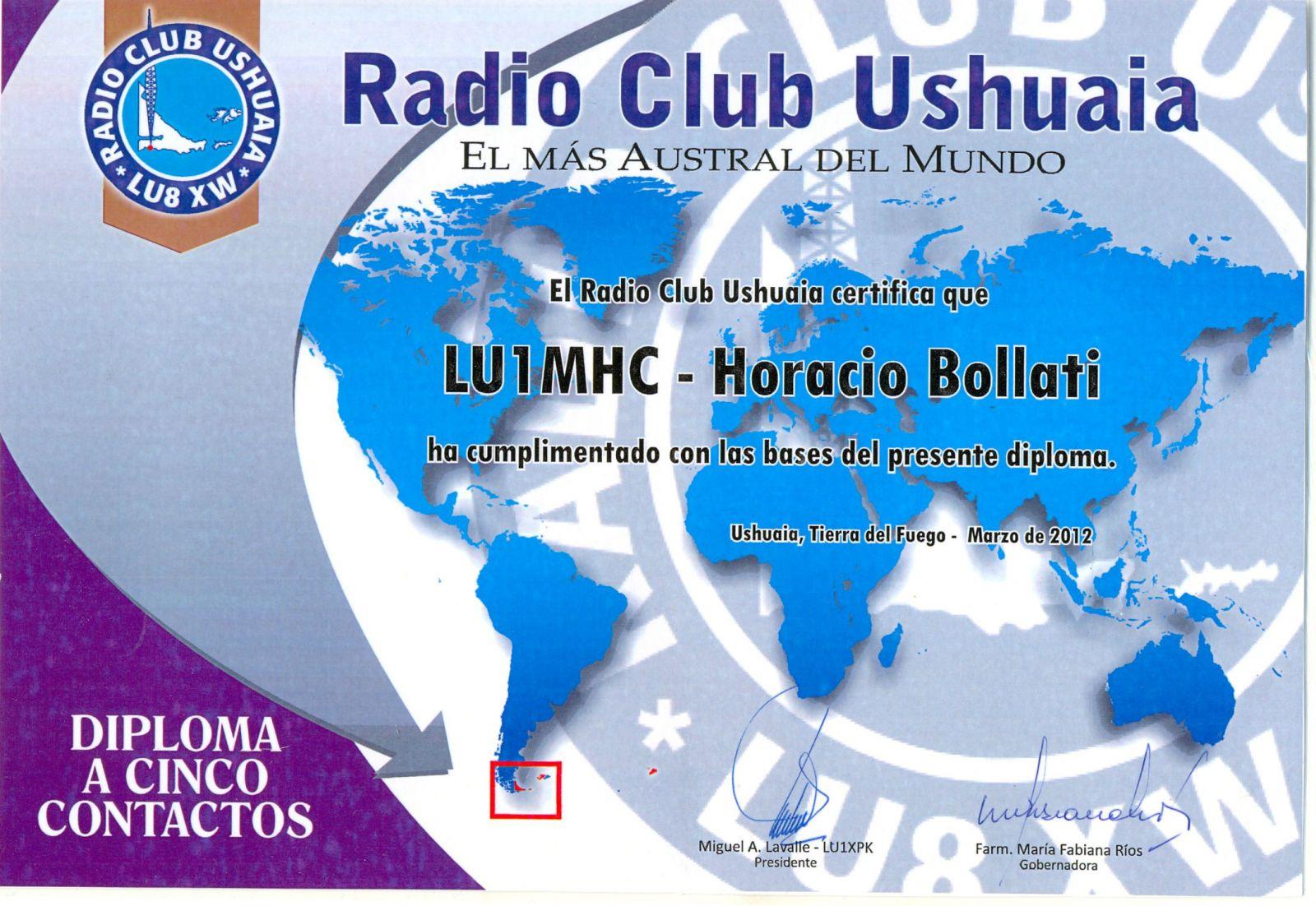 RADIO CLUB USHUAIA DIPLOMA Fueguino