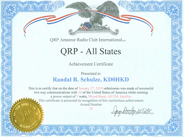 QRP All States Satellite Award