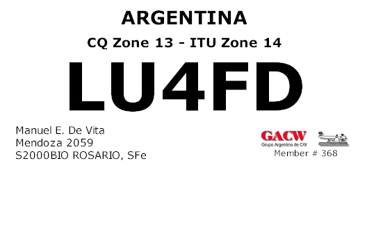 QSL image for LU4FD