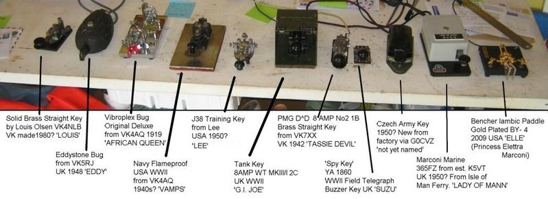 VK4EI's collection of morse keys in October 2011.