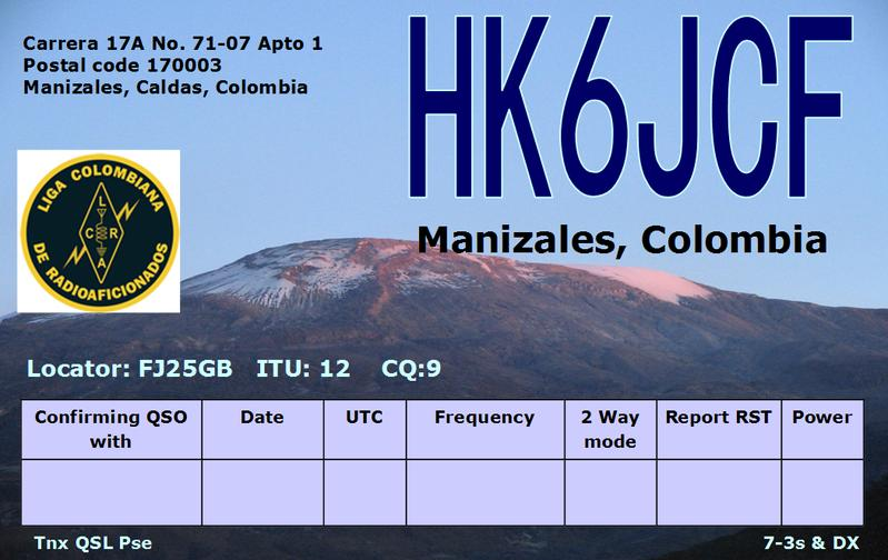 QSL image for HK6JCF