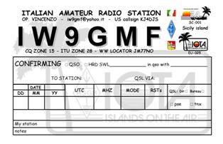QSL image for IW9GMF