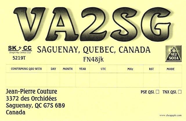 QSL image for VA2SG