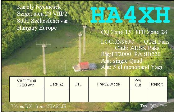 QSL image for HA4XH