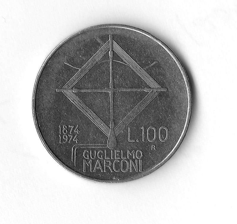 100 Lire coniate per il Centenario Marconiano del 1974
