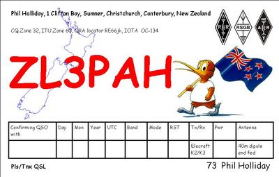 QSL image for ZL3PAH