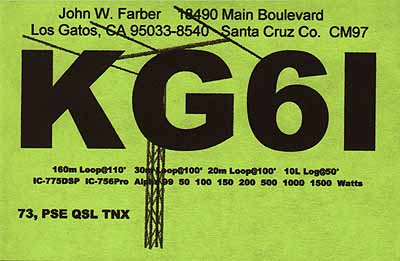 QSL image for KG6I