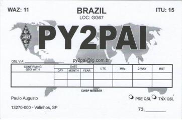 QSL image for PY2PAI
