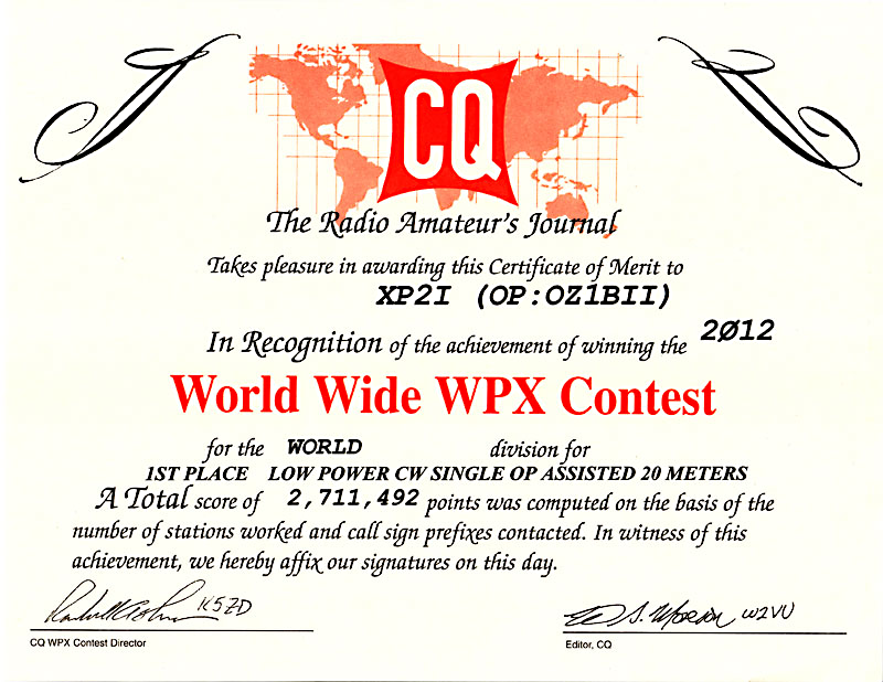 QSL image for XP2I