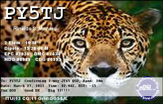 QSL image for PY5TJ