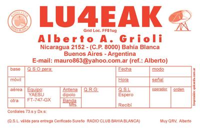 QSL image for LU4EAK