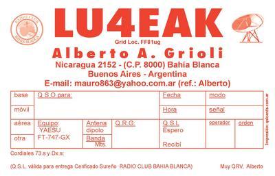 QSL image for LU4EAK