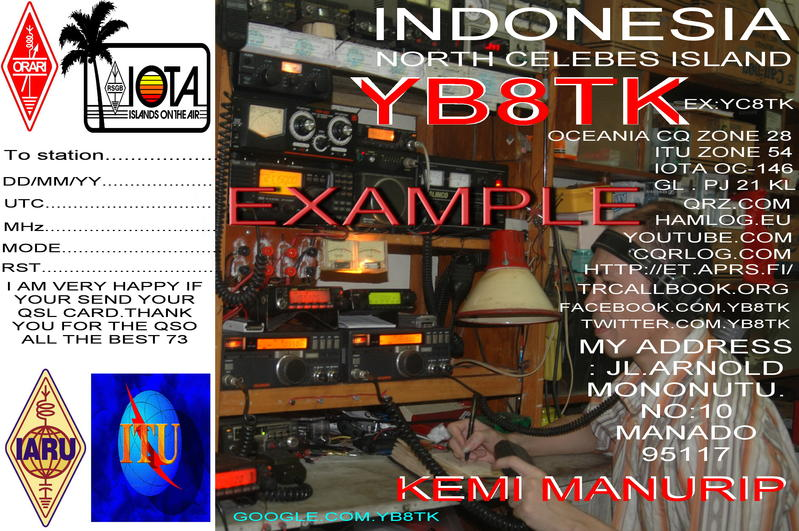 QSL image for YB8TK