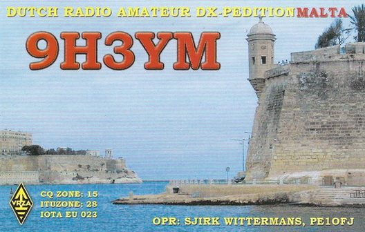 QSL image for 9H3YM