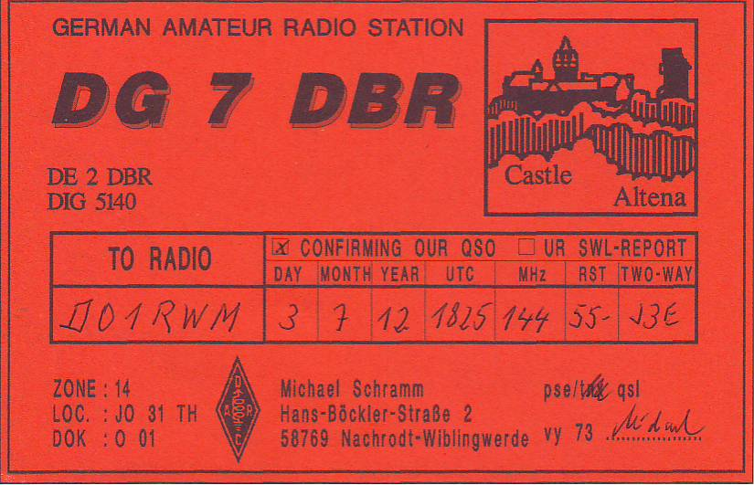 First received QSL-Card for DO1RWM