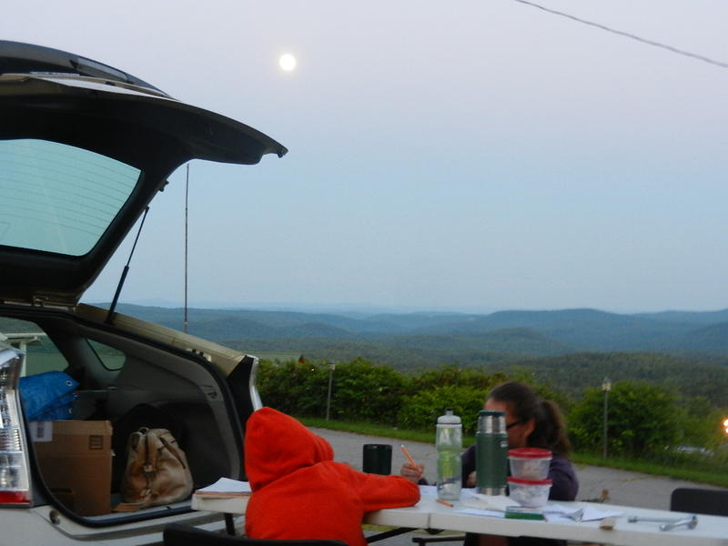 Moon rise over the operating position Looking South toward MA from southern VT