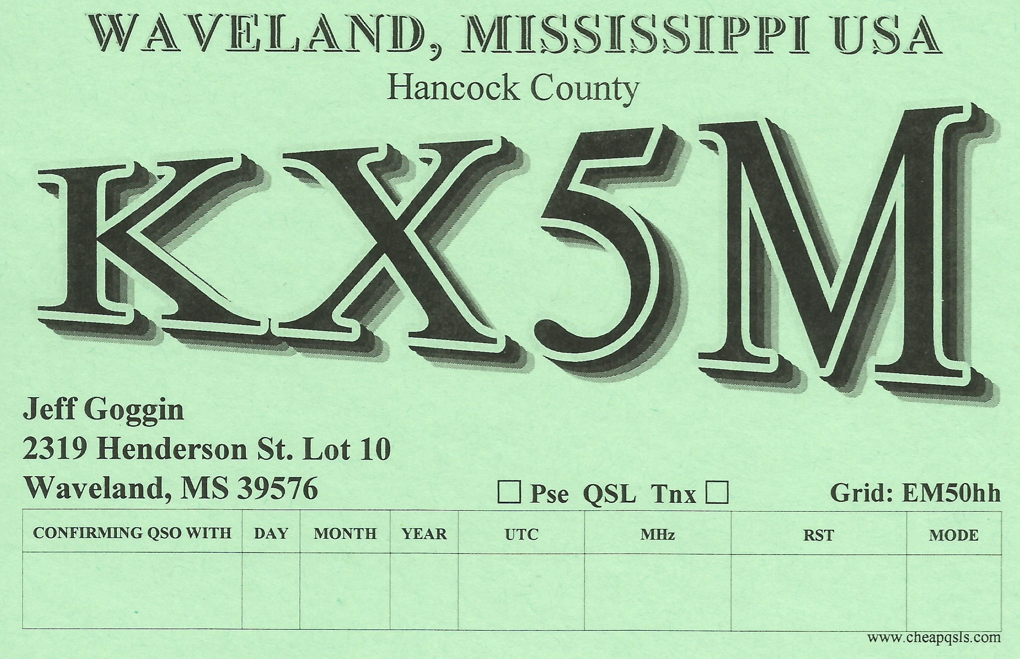 QSL image for KX5M