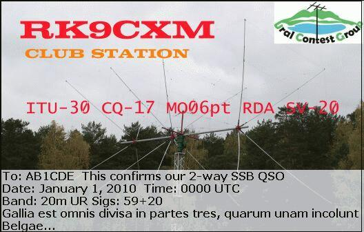 QSL image for RK9CXM