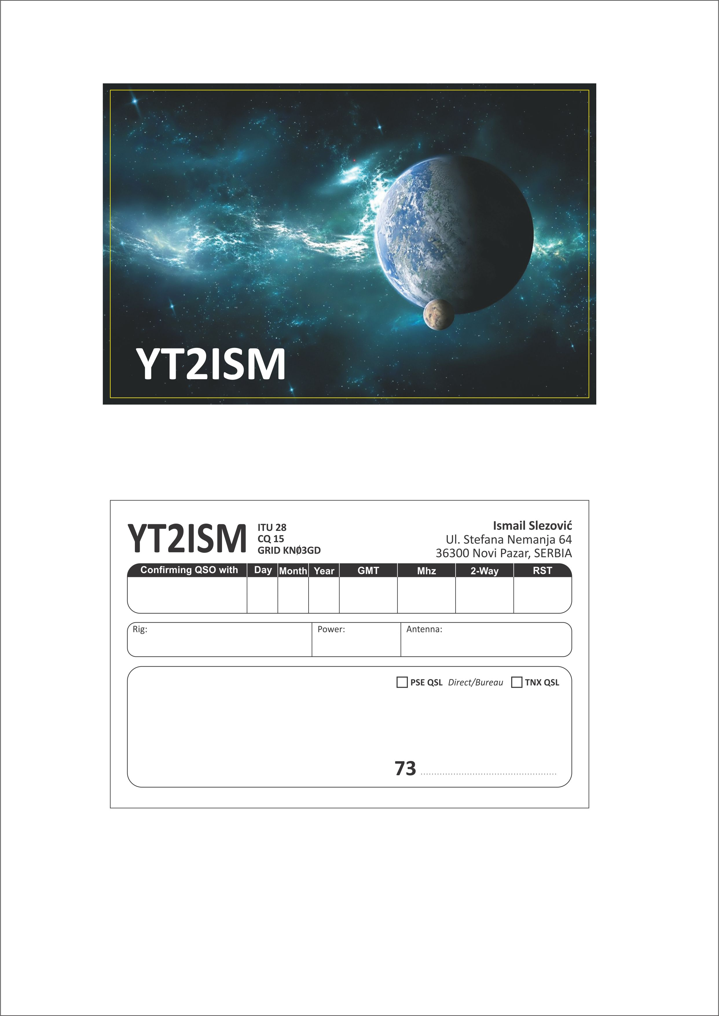 QSL image for YT2ISM