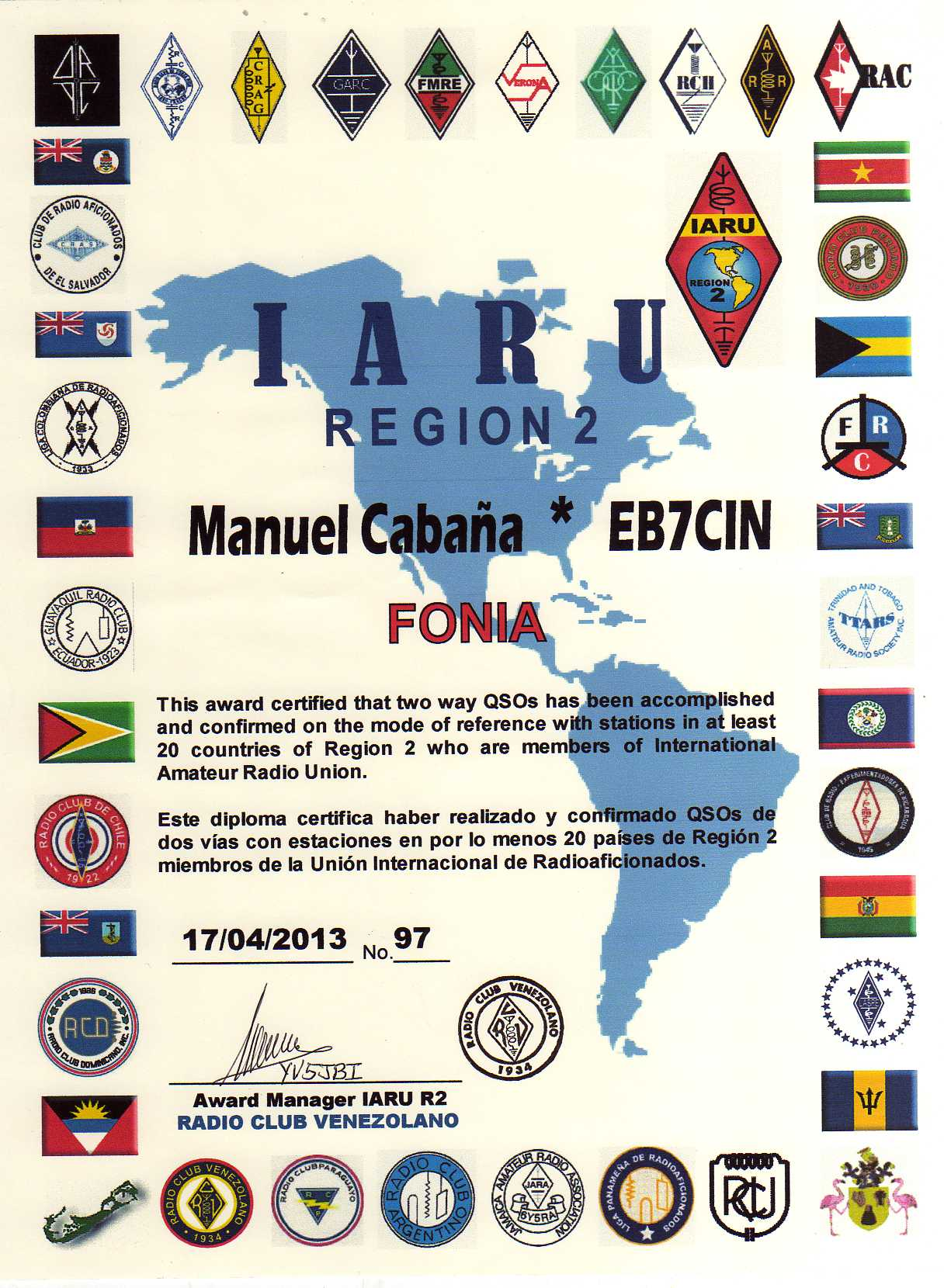 QSL image for EB7CIN