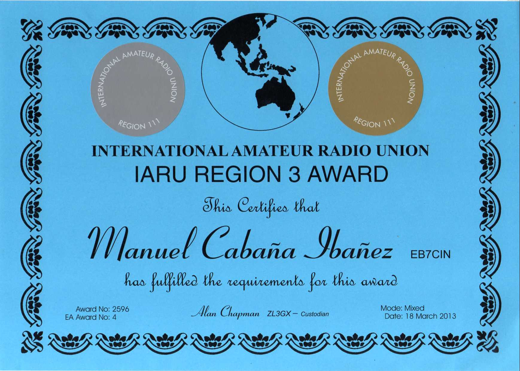 Award IARU REG-3, EA#4, Word#2596