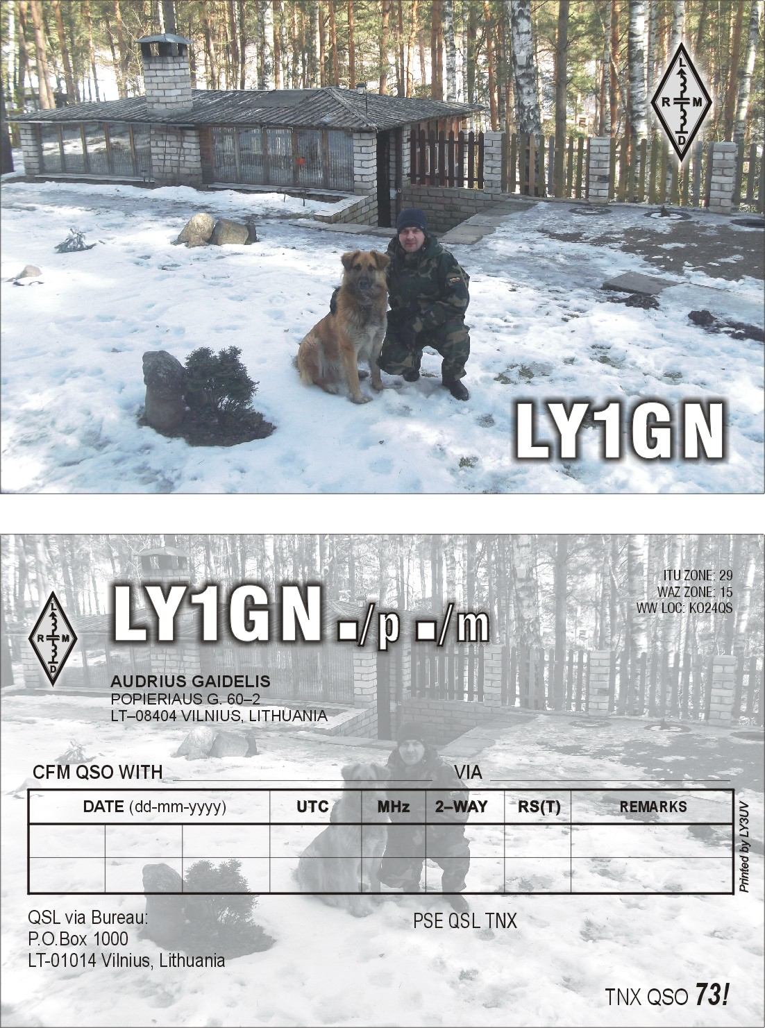 QSL image for LY1GN