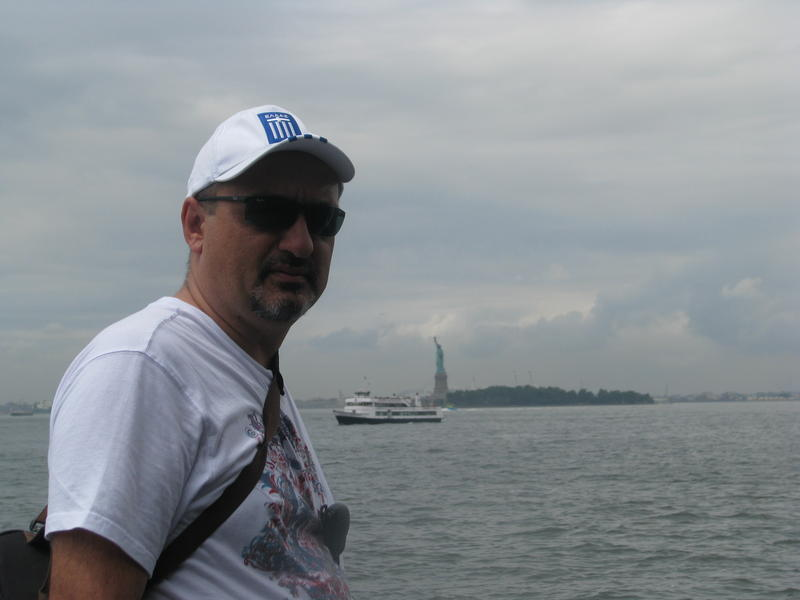 on the boat for the statue of LIBERTY