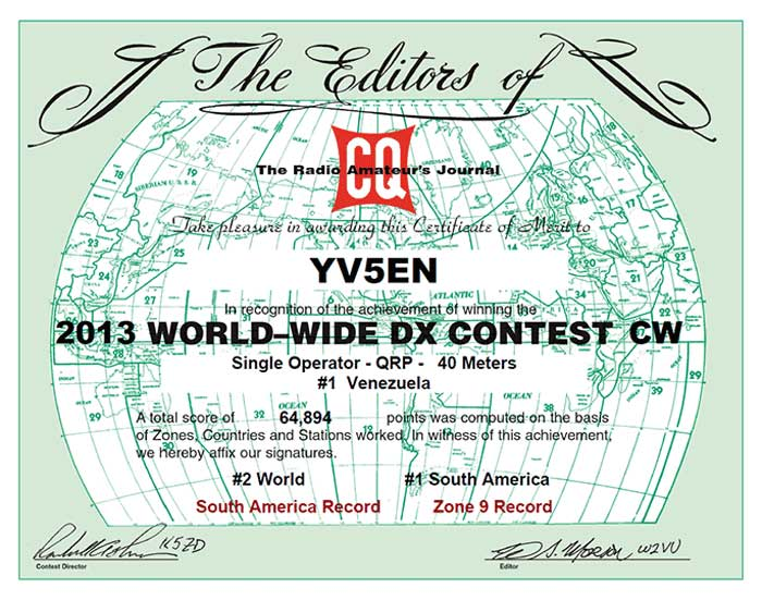 CQ World Wide DX CW Contest 2013,<br />