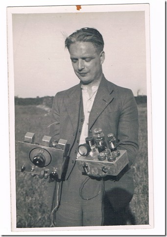 Jack G5TO in 1937, holding some 'bits' as his son Roger describes it.