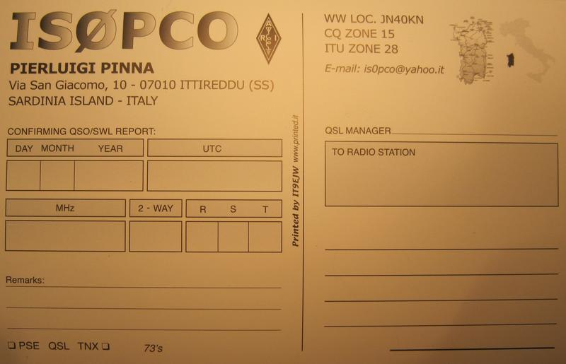 QSL image for IS0PCO
