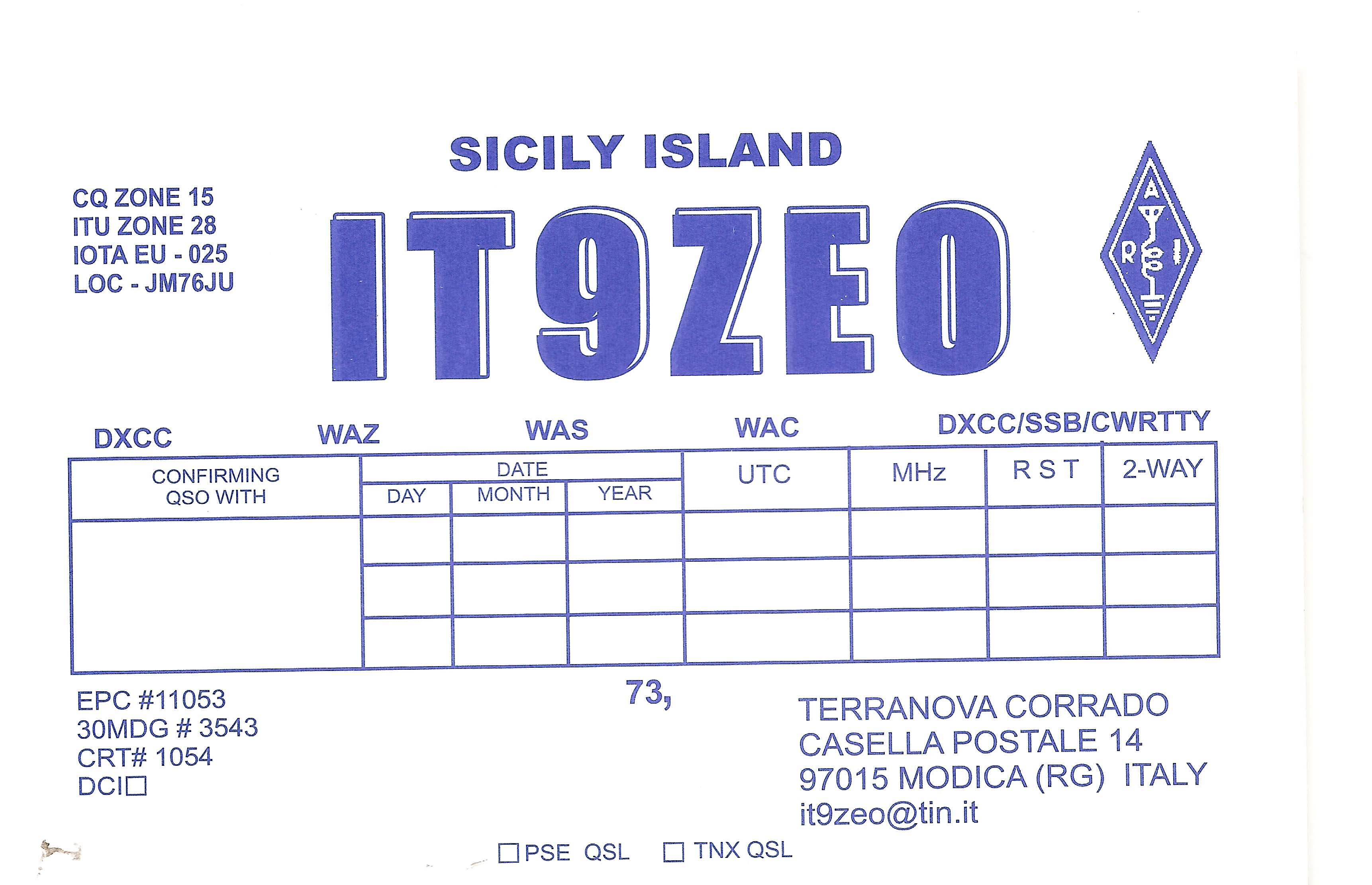 QSL image for IT9ZEO