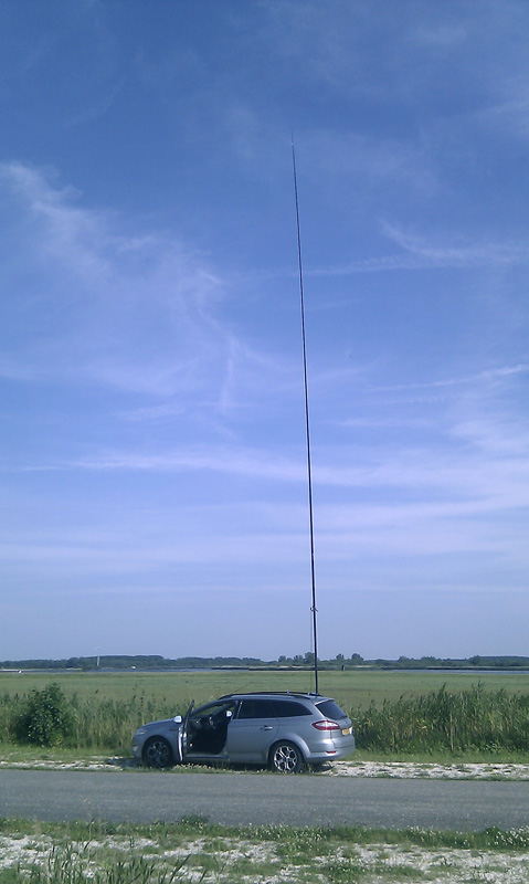 Portable setup using Spieth mast and wire