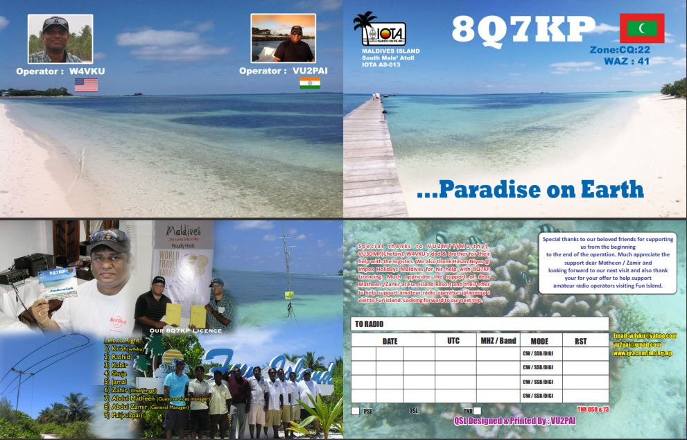 QSL image for 8Q7KP