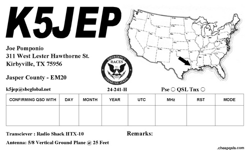 QSL image for K5JEP