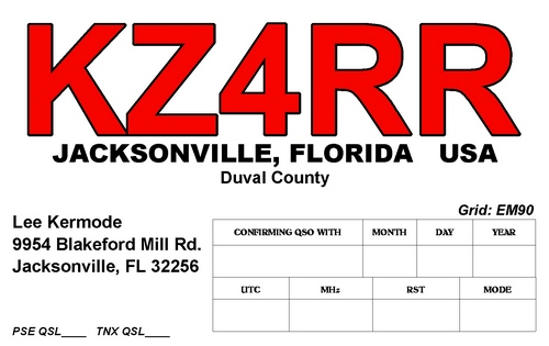 QSL image for KZ4RR