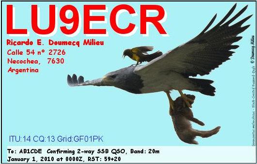 QSL image for LU9ECR