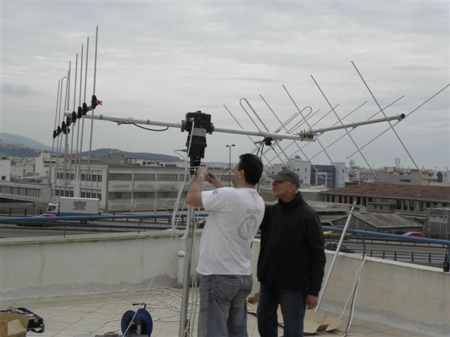 SV1HER preparing the antennas used on SX1ISS for sceduled contact with ISS