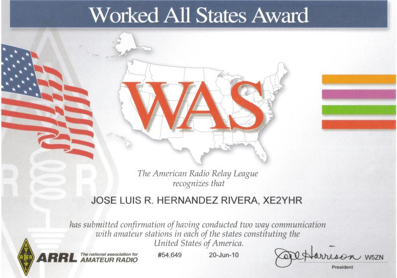 QSL image for XE2YHR